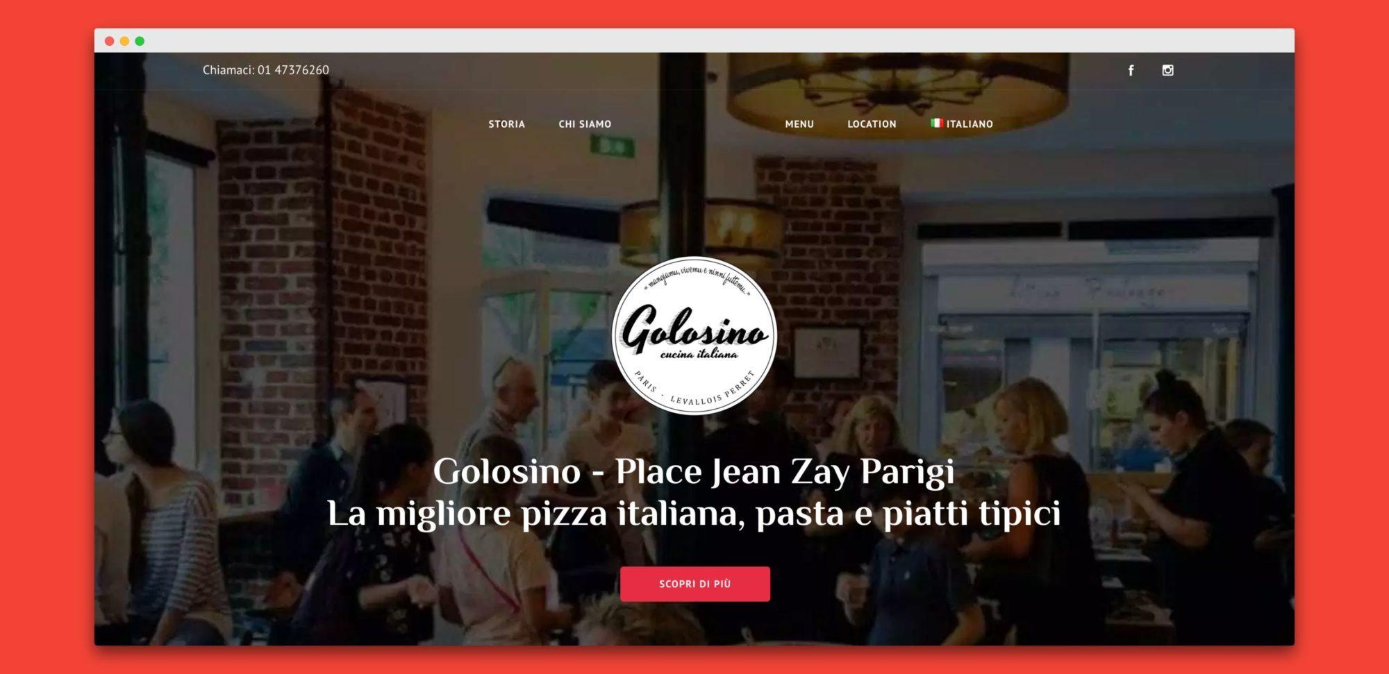 teroro agency golosino realizzazione sito internet 1 - Golosino - Pizzeria Ristorante italiano a Parigi