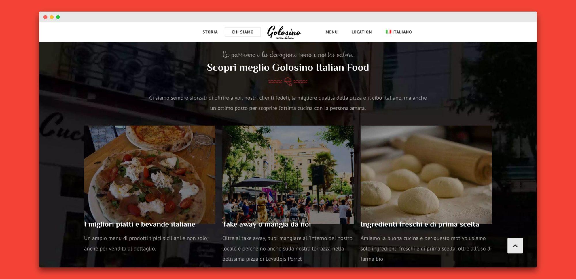 teroro agency golosino realizzazione sito internet 2 - Golosino - Pizzeria Ristorante italiano a Parigi