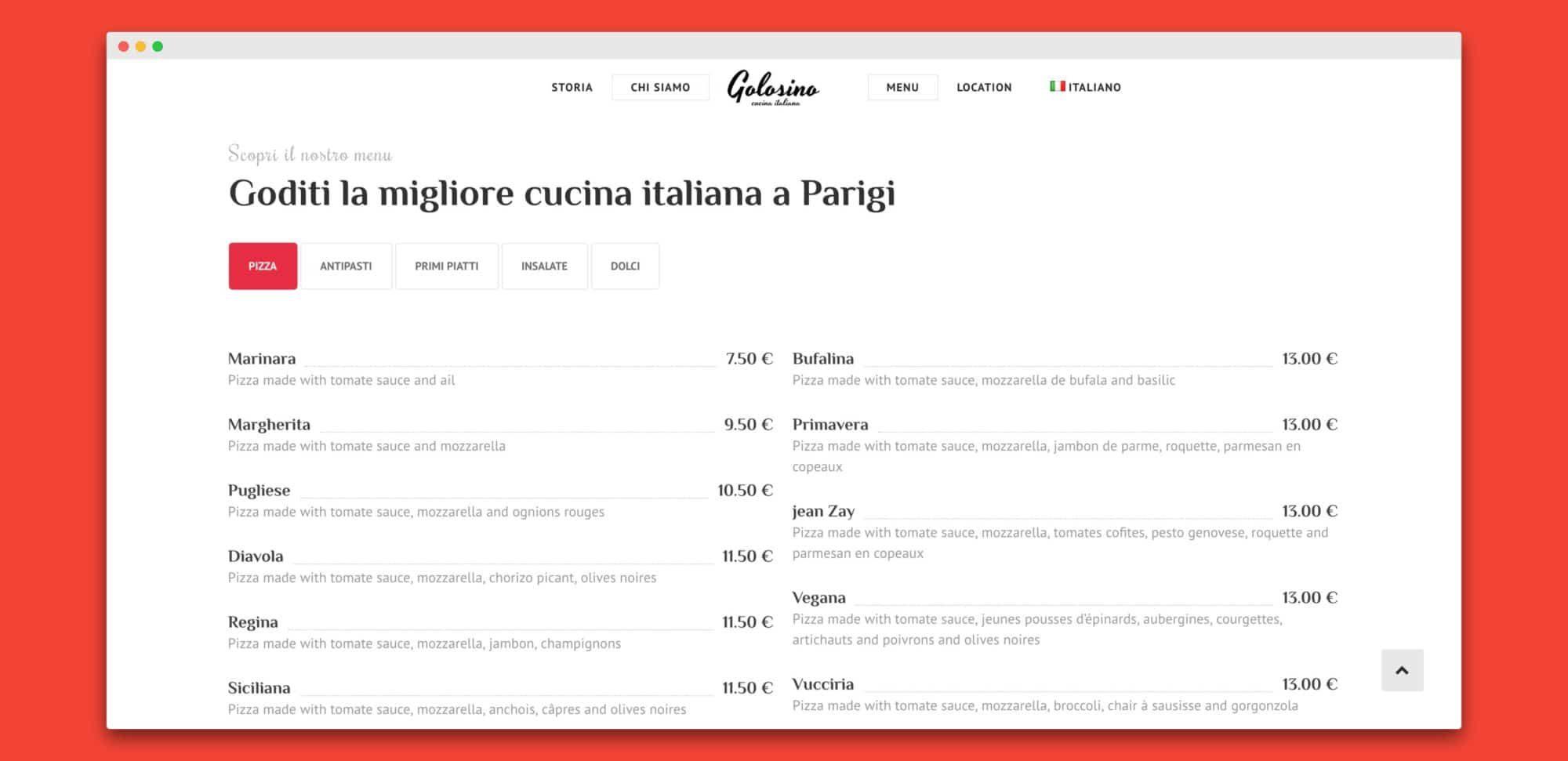 teroro agency golosino realizzazione sito internet 3 - Golosino - Pizzeria Ristorante italiano a Parigi
