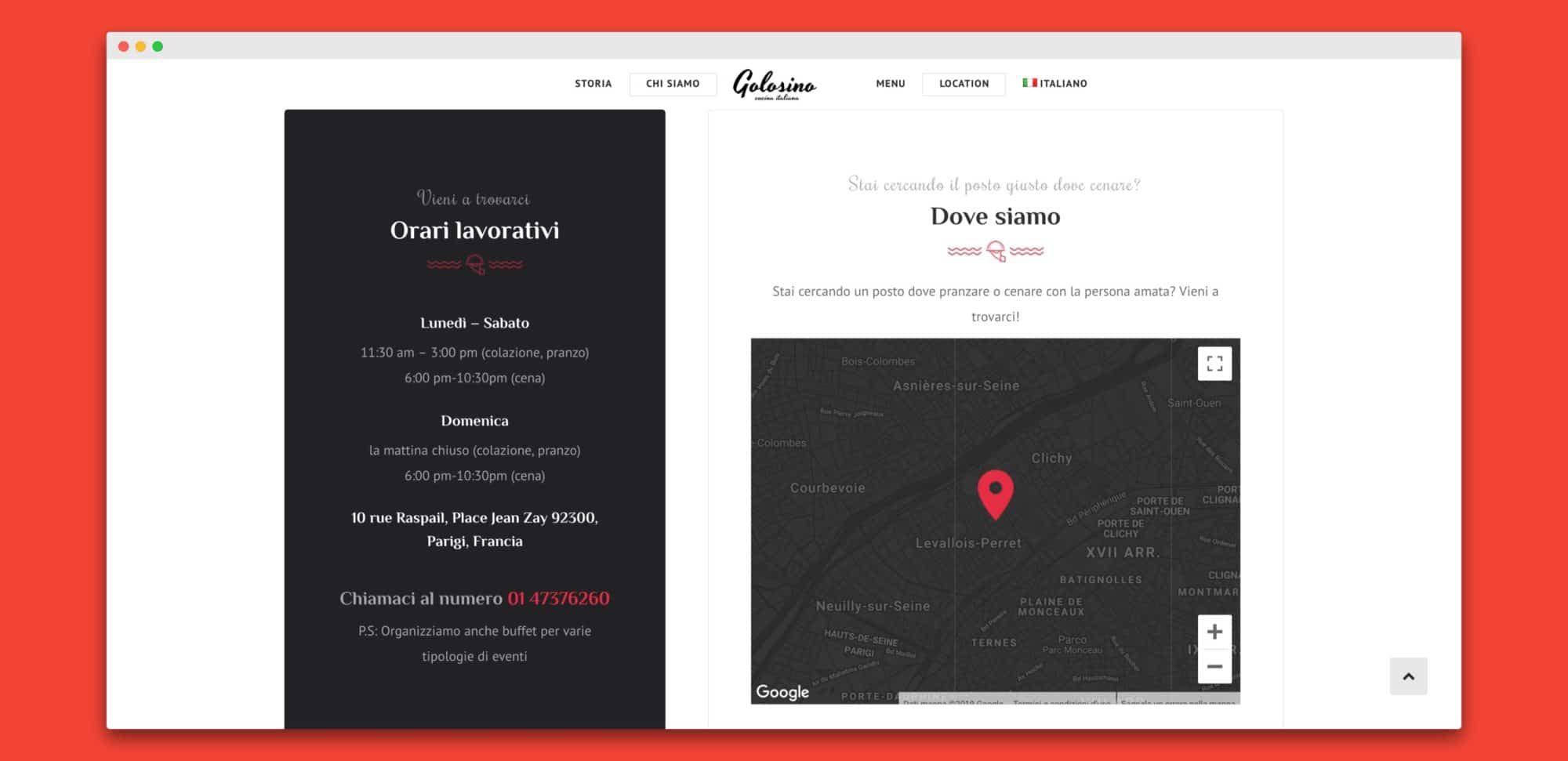 teroro agency golosino realizzazione sito internet 4 - Golosino - Pizzeria Ristorante italiano a Parigi