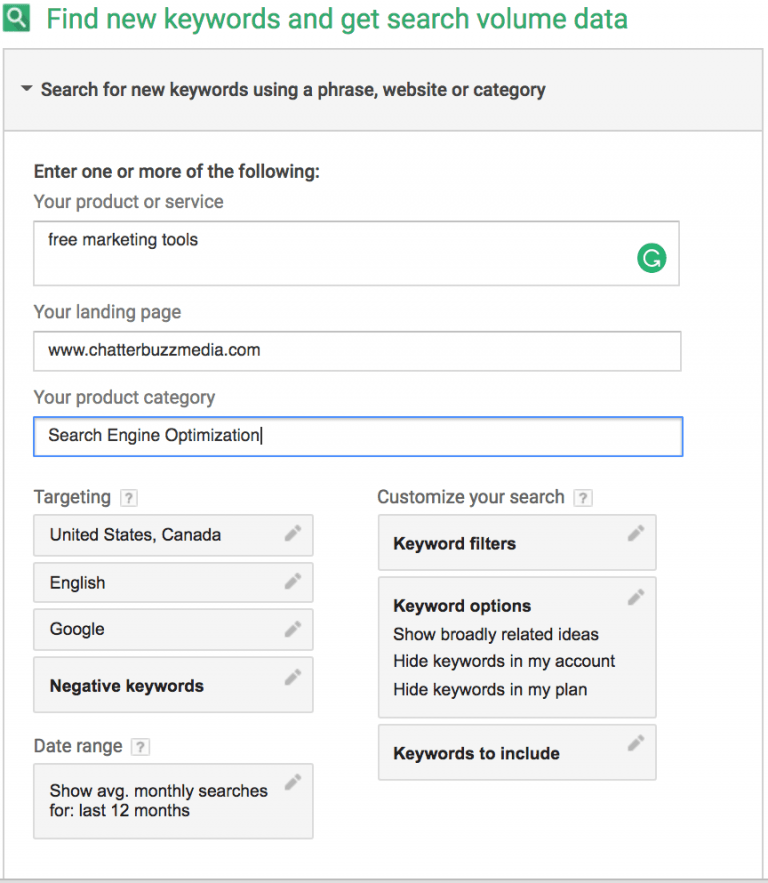 google keyword planner - 26 fantastici tool per fare marketing